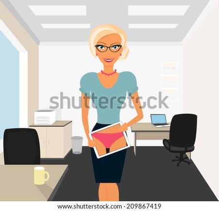 blonde woman flirting in office