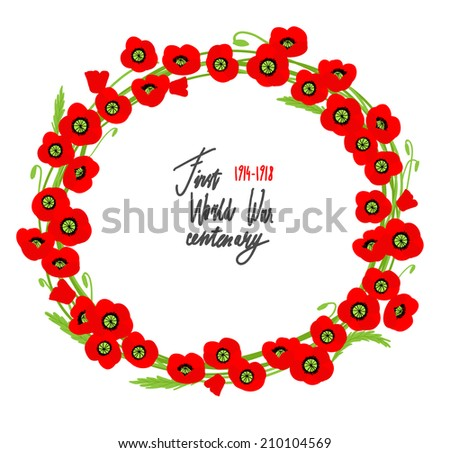 red poppies wreath with place