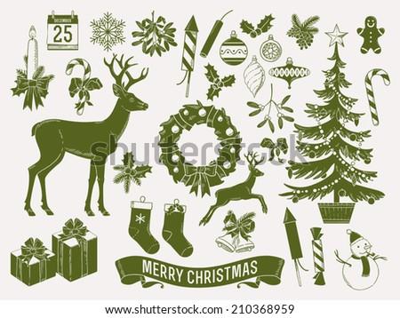large vector set of christmas