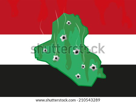 iraq map and colors with bullet