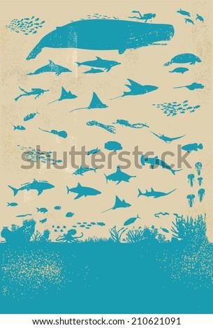 under sea life silhouette