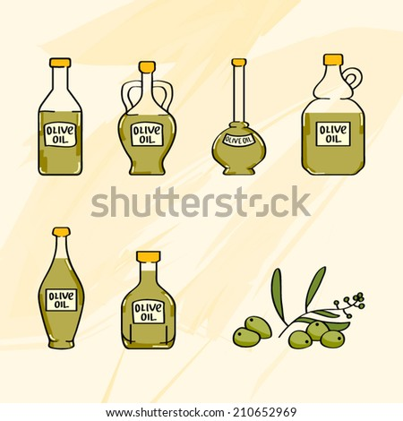 olive oil bottles icon set