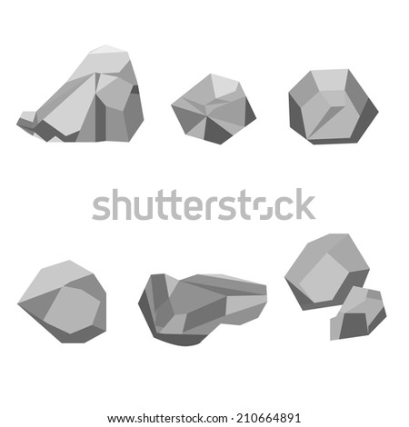 set of lowpoly 3d vector stones