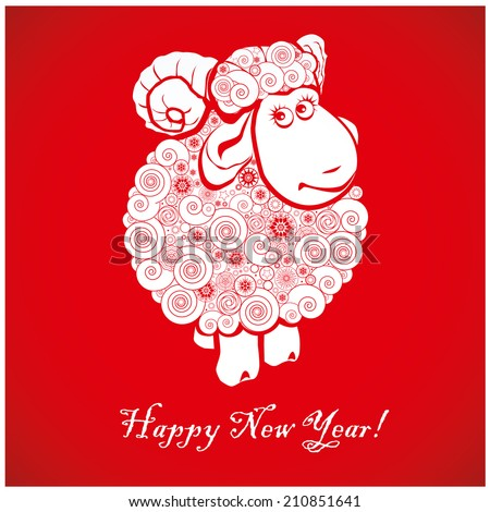 funny sheep on bright red