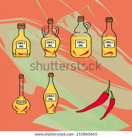 chili oil bottles icon set