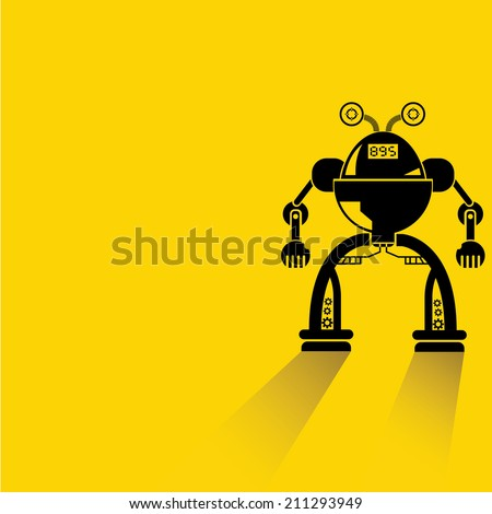 robot on yellow background