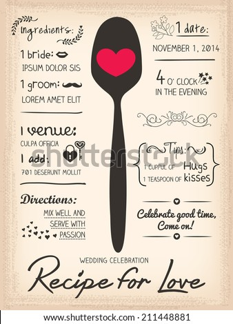 recipe card wedding invitation