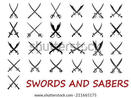 crossed swords and sabers