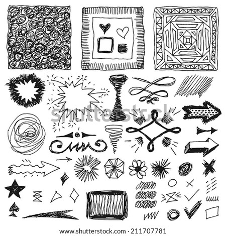 doodle set of hand drawn