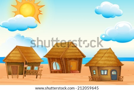illustration of huts on the