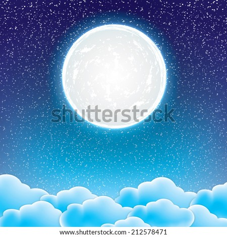 night starry sky with clouds