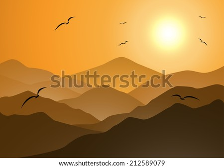 evening mountains and sunset