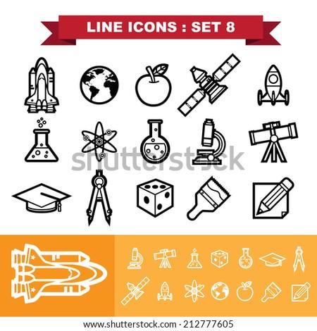 line icons set 8 illustration