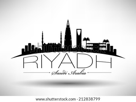 riyadh skyline with typography