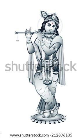 hindu young god krishna playing