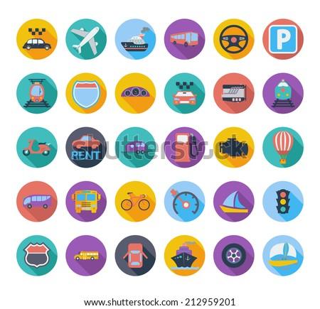 transportation icon set with