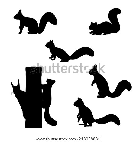 set of silhouettes of squirrels