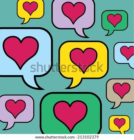 lovely heart speech bubbles