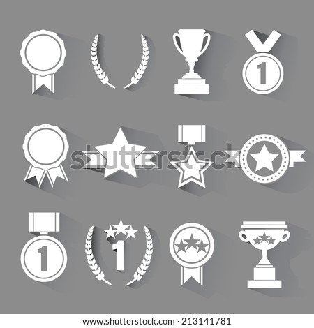 set of flat vector award with