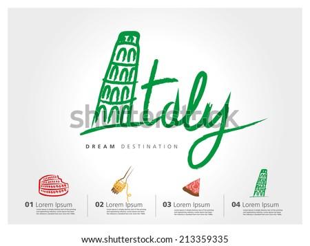 italy travel set  pisa  rome