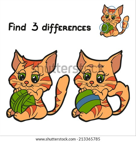 find 3 differences  cat