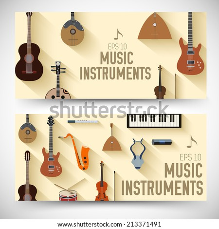 flat music instruments banners