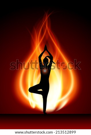 woman meditating on red fire
