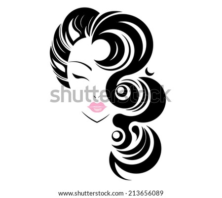 long hair style icon  logo