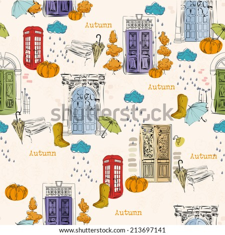 city seamless pattern with old