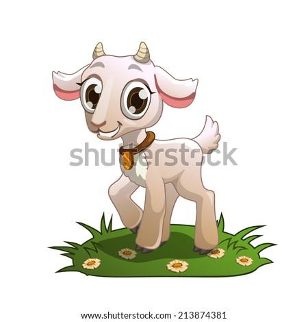 little cute cartoon goat on the