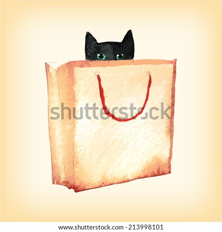 cat in box  watercolor vector