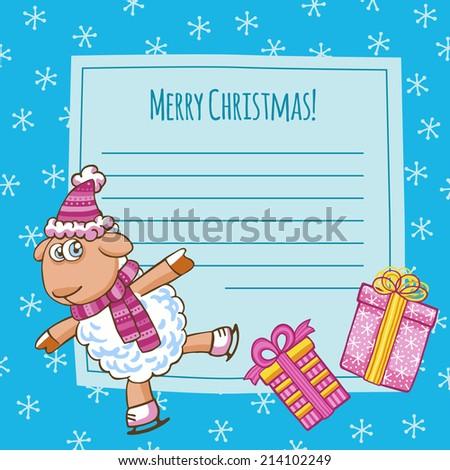 christmas vector card with cute