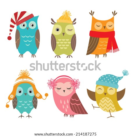 set of funny owls for winter