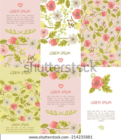 set of six floral business