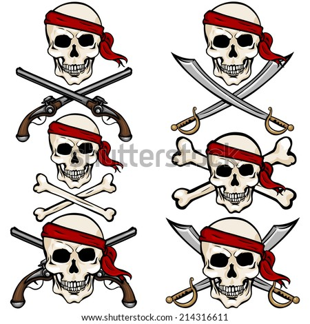 vector set of cartoon pirate