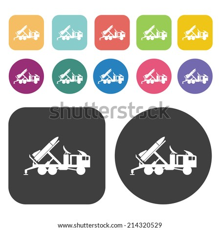 missile car icons set round