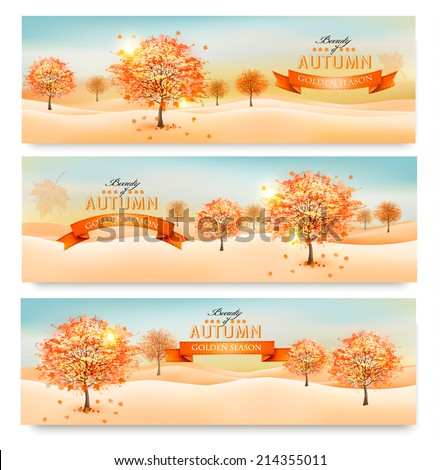 three autumn abstract banners
