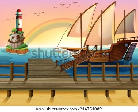 illustration of a boat parking