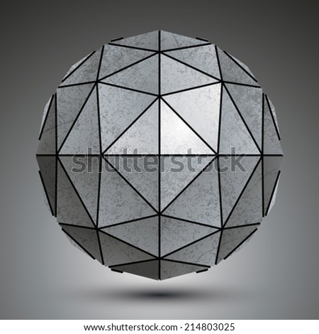 grayscale galvanized 3d sphere