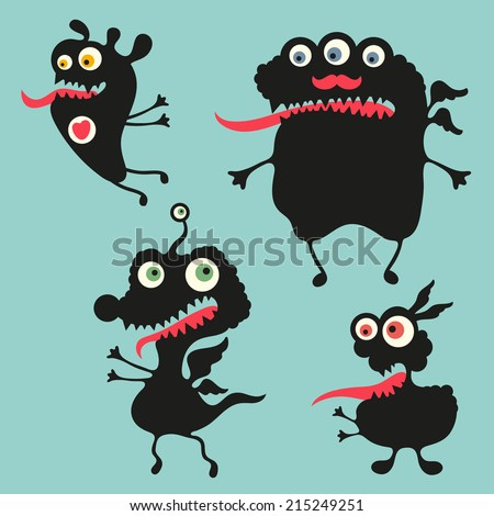 happy monsters vector images