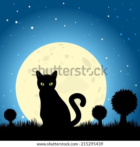 halloween black cat silhouette