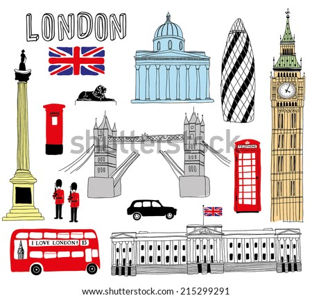 hand drawn london's symbols