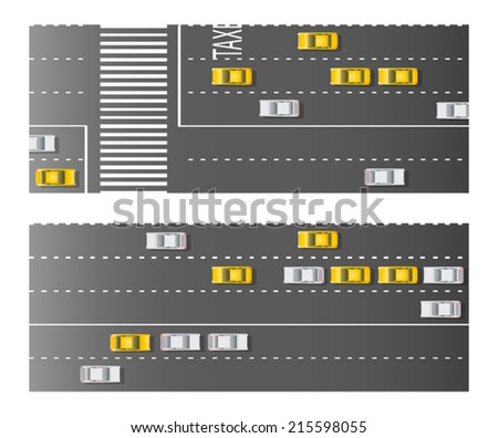 five line city street with taxi