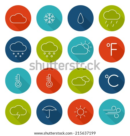 set weather icons flat design