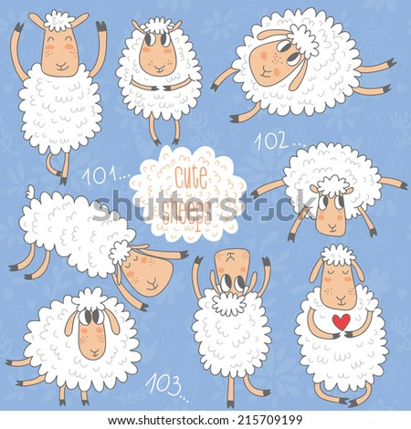 cute cartoon sheeps vector set