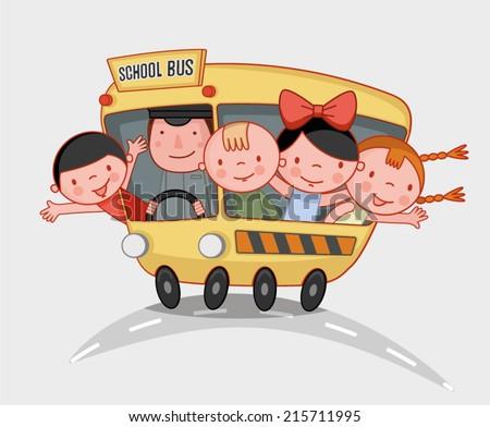 school kids ride the school bus