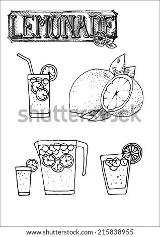 black and white lemonade set