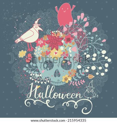 stylish halloween card in