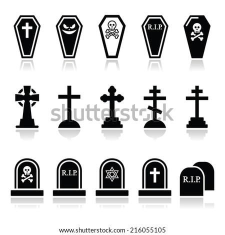 halloween  graveyard icons set