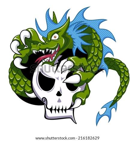 dragon holding skull  vector